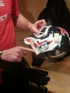 Martin Brodeur shows us that he had his dog put on his helmet (c) 2014 Michelle Kenneth