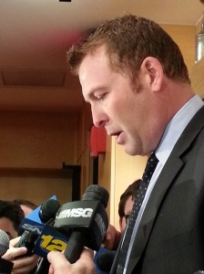 Martin Brodeur speaks to the press following the trade deadline (c) 2014 Michelle Kenneth