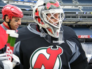 Martin Brodeur with Ryane Clowe (c) 2014 Michelle Kenneth